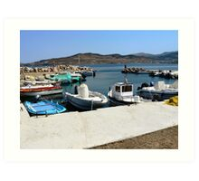 A small marina in Lesbos, Greece. Art Print