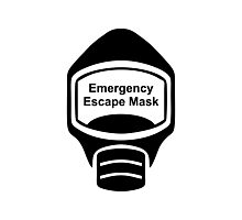 Emergency Escape Mask (or Smoke Hood, or Gas Mask) Sign Photographic Print