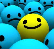 Yellow smiling emoji in a crowd of blue sad emojis Sticker