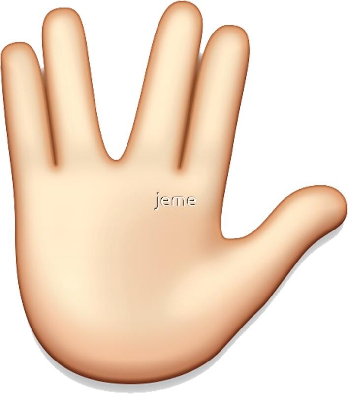 Vulcan hand emoji quot stickers by jeme redbubble