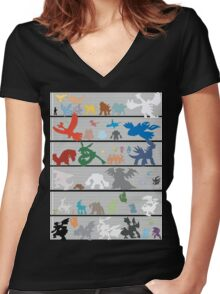 Pokemon Size Chart Color Women's Fitted V-Neck T-Shirt