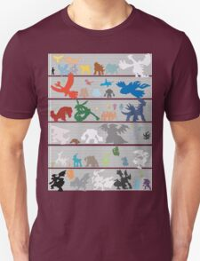 Pokemon Size Chart Color T-Shirt