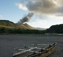 Yasur volcanic eruption. Sulfur Bay. Tanna. by Ian Hallmond