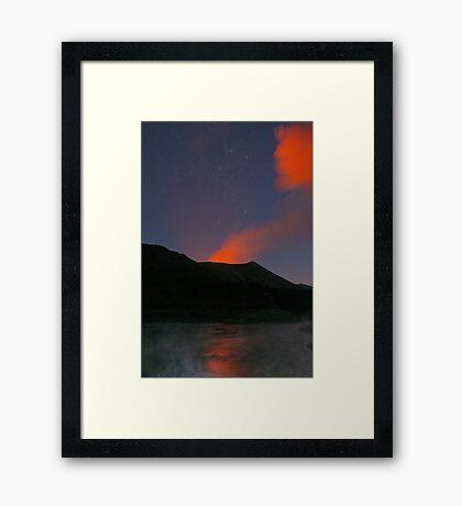 Starry night. Yasur volcano and hotsprings. Tanna. Vanuatu. Framed Print