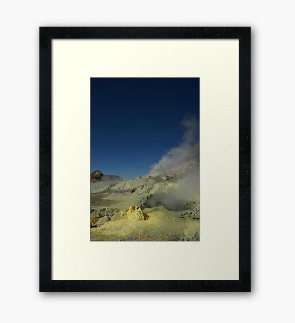 Steaming sulfur vents. White Island volcano. NZ Framed Print