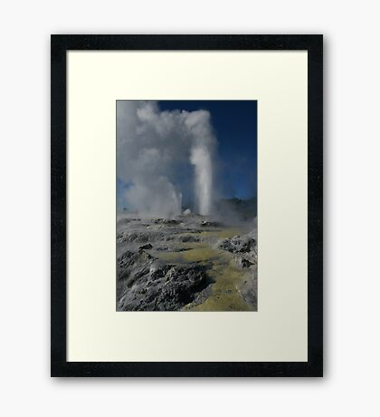 Pohutu and Prince of Wales geysers. Rotorua. NZ Framed Print