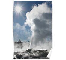 Pohutu geyser and sun. Rotorua. NZ Poster