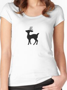 deer silhouette Women's Fitted Scoop T-Shirt