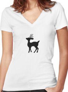 deer silhouette Women's Fitted V-Neck T-Shirt
