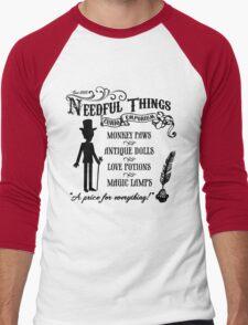 Mr. Needful Shirt (Black Print) Men's Baseball ¾ T-Shirt