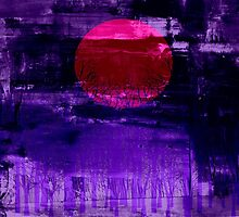 Purple Sunset Abstract Painting #2 by Nhan Ngo