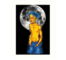 party animal with moon Art Print