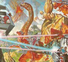 Epic Dinosaur Laser Battle Sticker