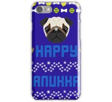 Pugly Hanukkah Ugly Christmas Sweater Style iPhone Case/Skin