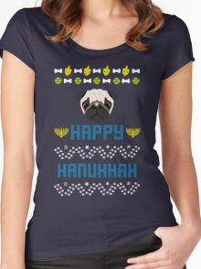 Pugly Hanukkah Ugly Christmas Sweater Style Women's Fitted Scoop T-Shirt