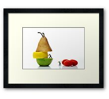 Lumberjacks working on fruits Framed Print