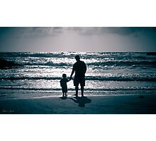 Father and Son on the beach at dusk Photographic Print