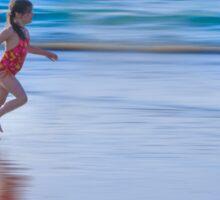 Girl running on the beach Sticker