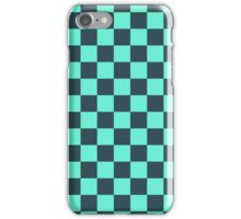 Checkered Aqua and Black Pattern iPhone Case/Skin