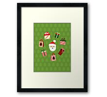 Santa Claus Pattern - Spruce Forest Framed Print