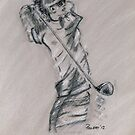 Golf - Lady Golfer drawing by Paulette Farrell