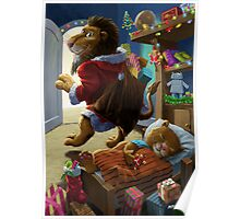 Father Christmas lion delivering presents Poster