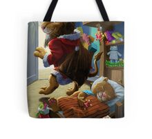 Father Christmas lion delivering presents Tote Bag