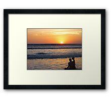 Father-Daughter Sunset Framed Print