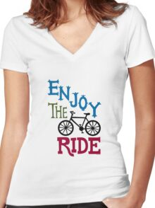 Enjoy the Ride - light Women's Fitted V-Neck T-Shirt