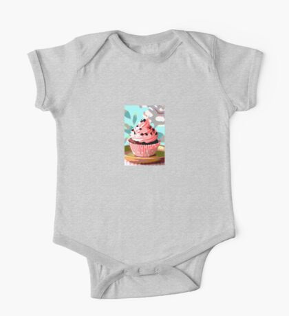 Chocolate Cupcakes with Pink Buttercream One Piece - Short Sleeve