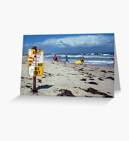 Beach Sign Three Greeting Card