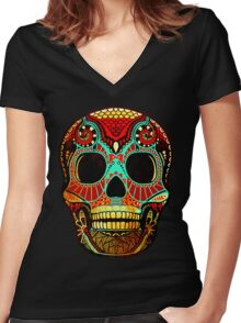 Grunge Skull No.2 Women's Fitted V-Neck T-Shirt