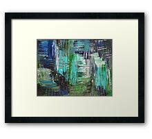 AQUATIC COMMOTION in Color - Textural Ocean Beach Nautical Abstract Acrylic Painting Wow Winter Xmas Framed Print