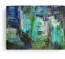 AQUATIC COMMOTION in Color - Textural Ocean Beach Nautical Abstract Acrylic Painting Wow Winter Xmas Canvas Print