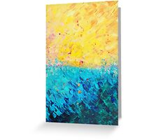 THE DIVIDE - Stunning Bold Colors, Ocean Waves Sun, Modern Beach Chic Theme Abstract Painting Greeting Card