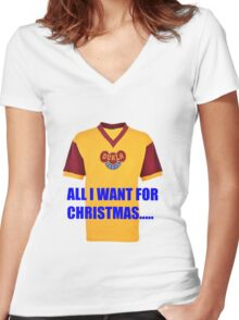 All I want for Christmas is a Dukla Prague away kit.... Women's Fitted V-Neck T-Shirt