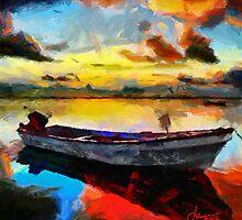 Boat at sunrise by DiNovici