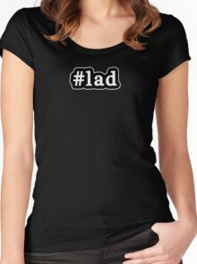 Lad - Hashtag - Black & White Women's Fitted Scoop T-Shirt