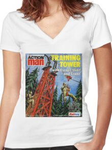 Action Man training tower Women's Fitted V-Neck T-Shirt