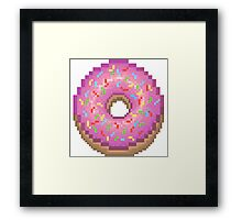 Pixel Pink Frosted Sprinkled Donut Framed Print