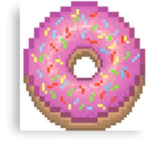 Pixel Pink Frosted Sprinkled Donut Canvas Print