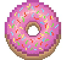 Pixel Pink Frosted Sprinkled Donut Photographic Print