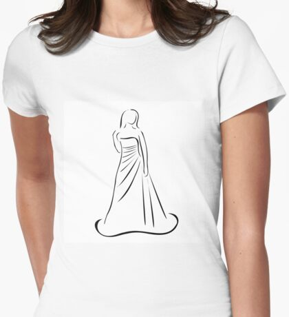 Bride in wedding dress  Womens Fitted T-Shirt