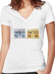 Retro Star Wars Boom box/Ghetto Blaster R2-D2 C-3PO Women's Fitted V-Neck T-Shirt