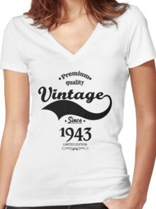 Premium Quality Vintage Since 1942 Limited Edition Women's Fitted V-Neck T-Shirt