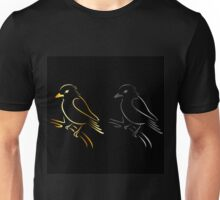 A cute abstract kingfisher sitting on a branch  Unisex T-Shirt