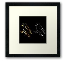 A cute abstract kingfisher sitting on a branch  Framed Print
