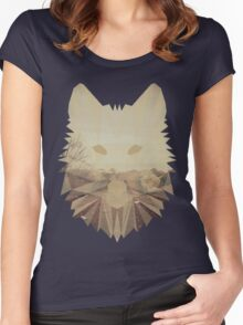Autumn cubist wolf Women's Fitted Scoop T-Shirt