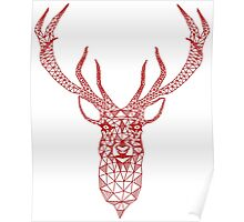 Red Modern Christmas Deer Geometric Illustration Poster