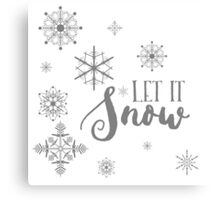 Elegant White and Gray Let it Snow Abstract snowflakes Canvas Print